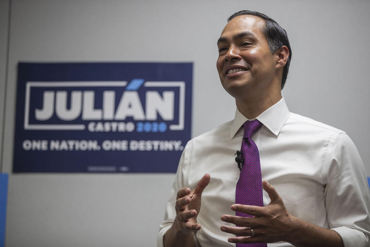 Former U.S. Secretary of Housing and Urban Development and 2020 Democratic candidate Julian Castro speaks on gun violence at a town hall organized by Moms Demand Action volunteers in North Liberty on Wednesday, August 14, 2019.