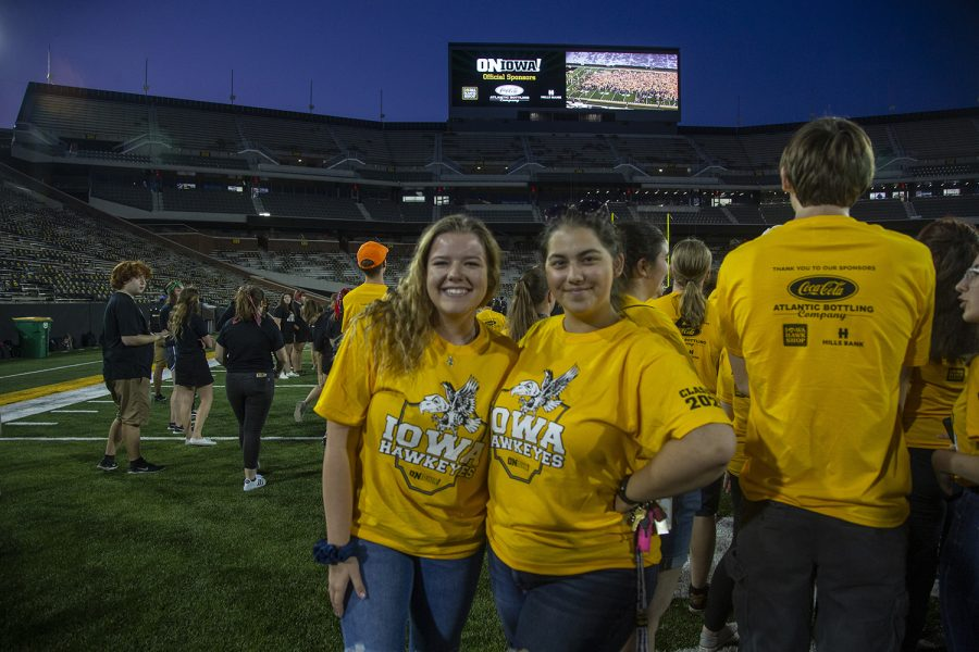Sophie Berning and Hannah Jorgensen pose for a portrait at the Kickoff at Kinnick for On Iowa! on Friday, August 23.