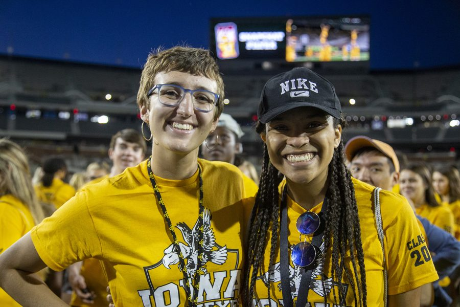 Emma Grace Teggatz and Braxten Jones pose for a portrait at the Kickoff at Kinnick for On Iowa! on Friday, August 23.