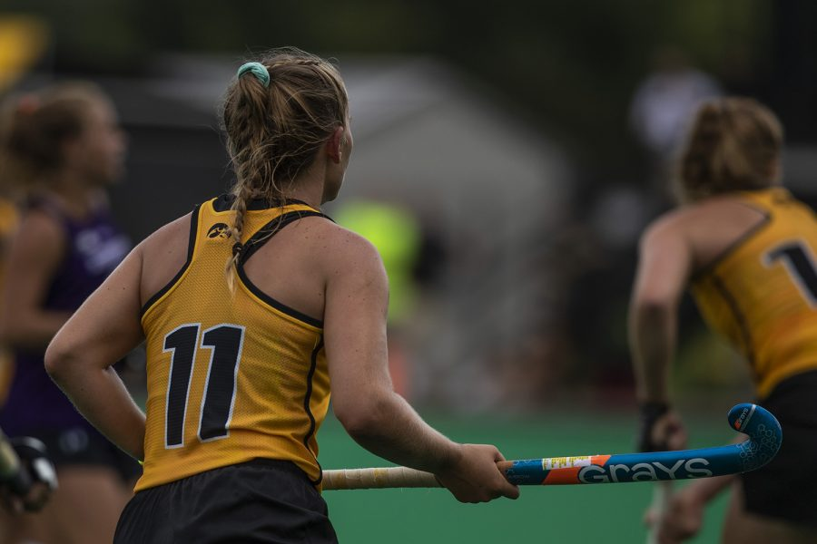 Iowa+midfielder+Katie+Birch+watches+teammates+during+an+exhibition+game+against+Northwestern+at+Grant+Field+on+Saturday%2C+August+24%2C+2019.+The+Hawkeyes+defeated+the+Wildcats+3-2.