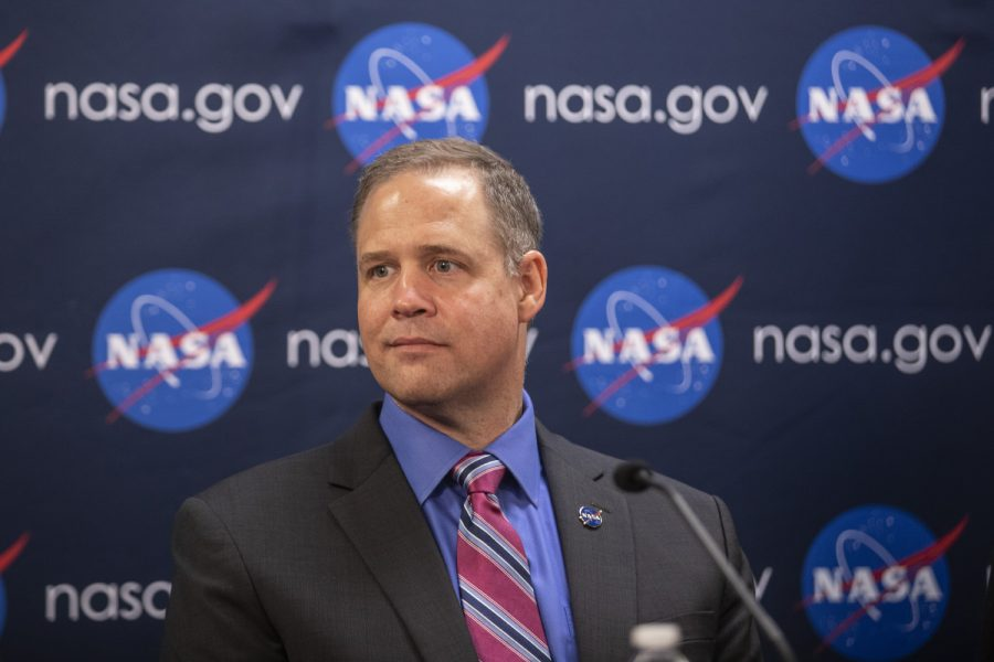 NASA Administrator Jim Bridenstine partakes in a press conference during his visit to the University of Iowa on Aug. 30, 2019. The UI recently received a $115 million grant to launch the TRACERS mission, which will collect data on the interaction of the earth and sun's magnetic fields.