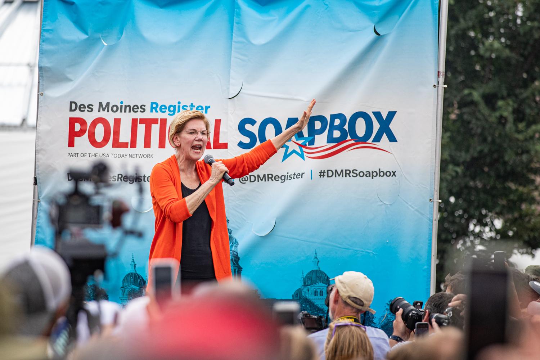 Sen. Elizabeth Warren, D-Mass., speaks at the Des Moines Register Political Soapbox during the Iowa State Fair in Des Moines, IA on Saturday, August 10, 2019.