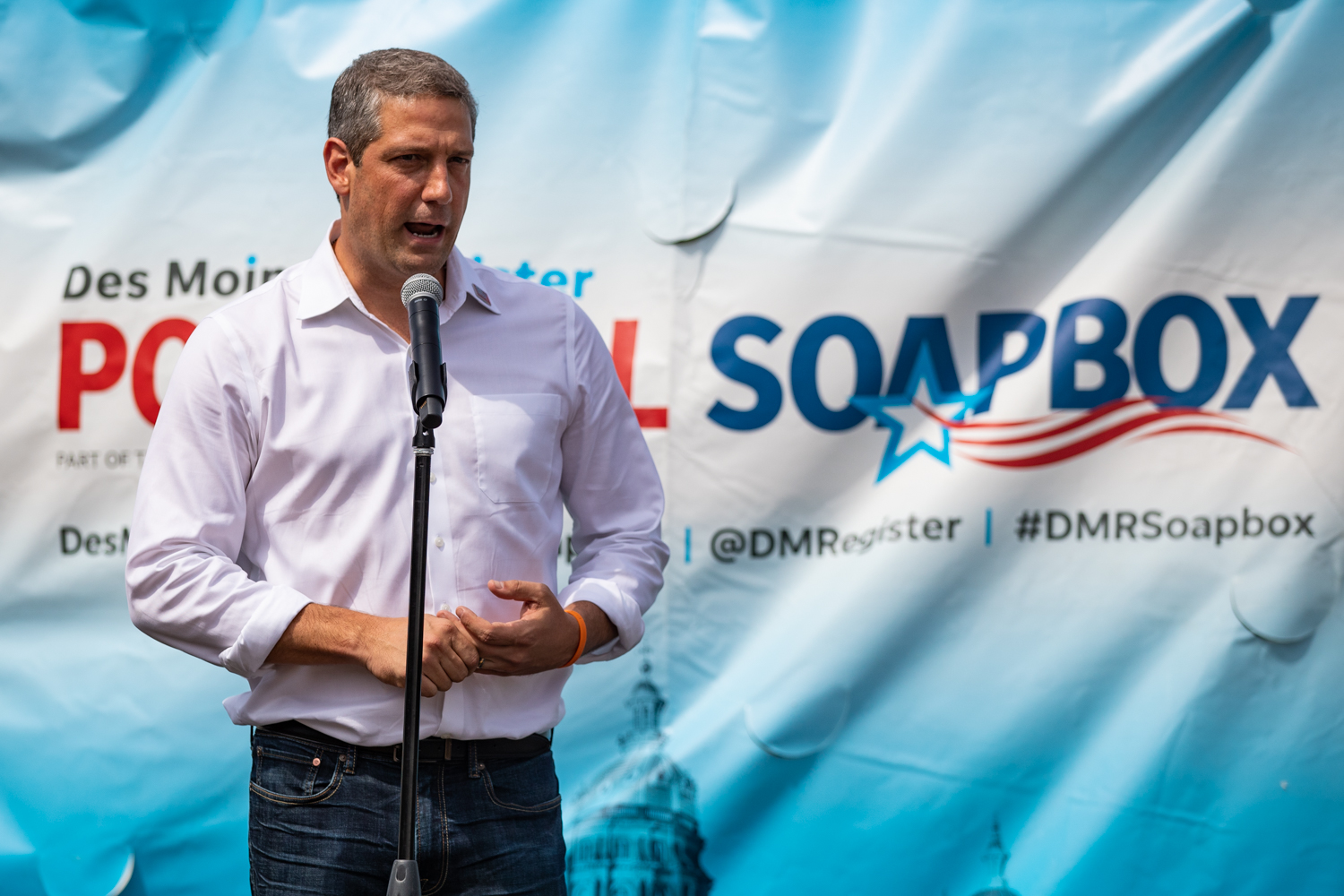 Rep. Tim Ryan speaks at the Des Moines Register Political Soapbox during the Iowa State Fair in Des Moines, IA on Saturday, August 10, 2019.