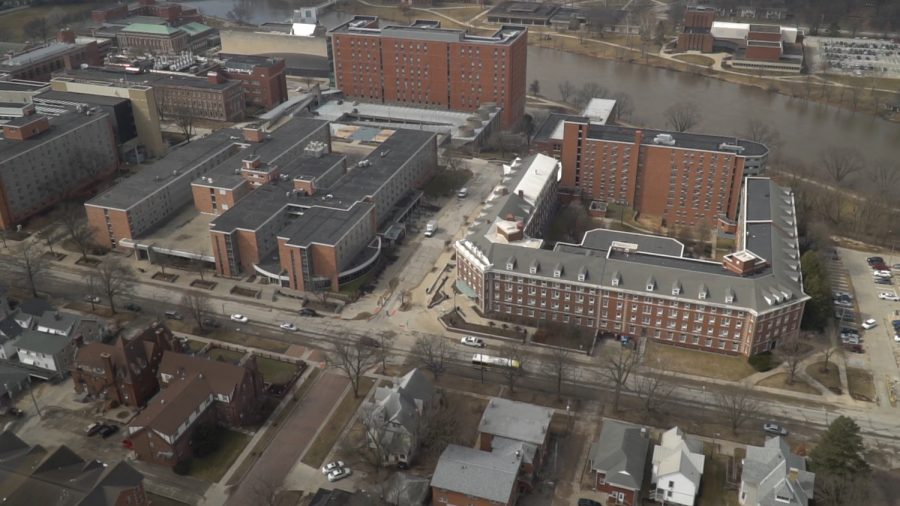Currier Hall as seen from the UIHC Aircare helicoptor on March 20, 2019 in Iowa City, Iowa.