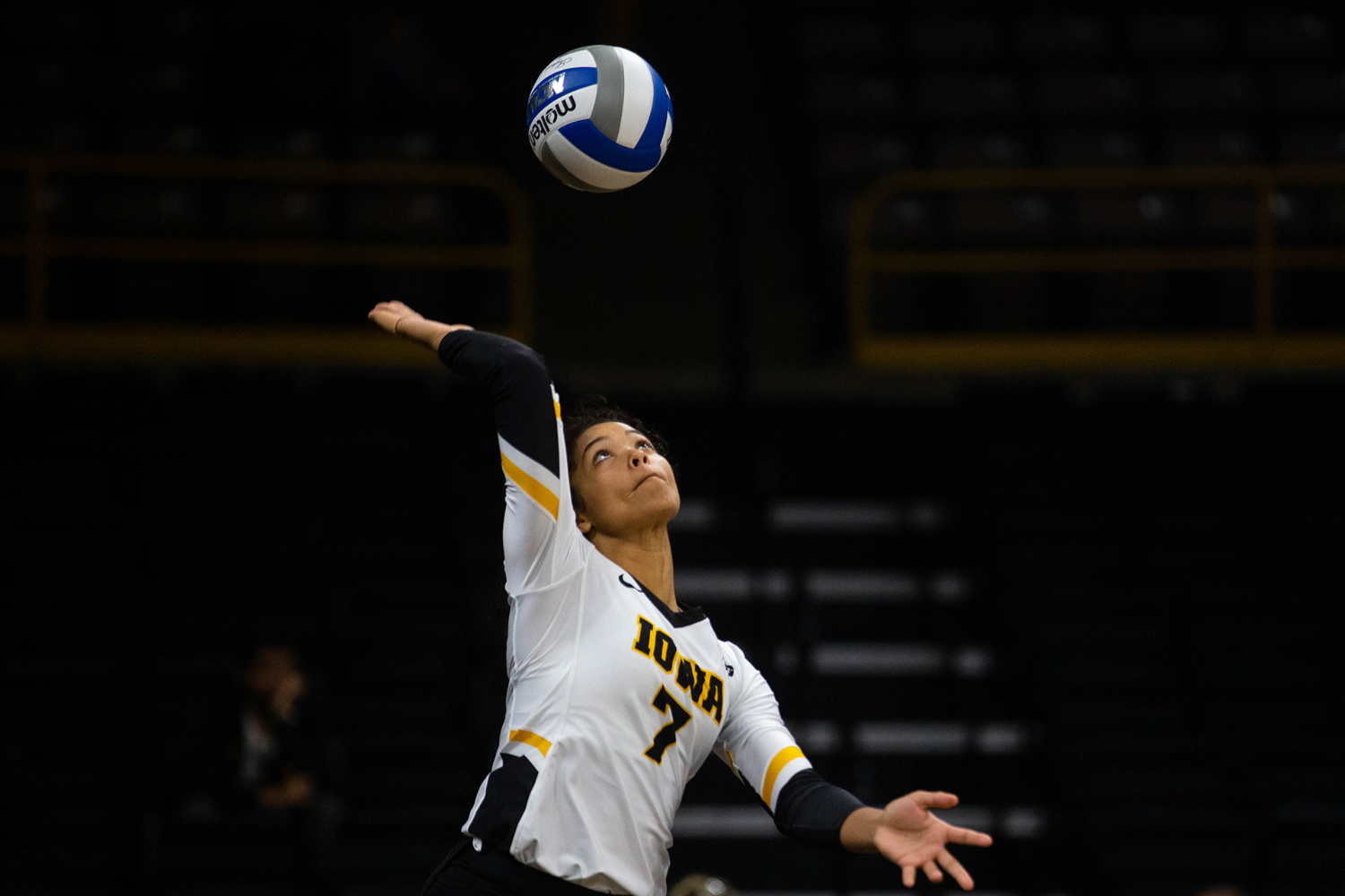Brie Orr serves the ball during Iowa's match against Eastern Illinois on Sunday, September 9, 2018 at Carver-Hawkeye Arena. The Hawkeyes won the match 3-0.(Megan Nagorzanski/ The Daily Iowan)