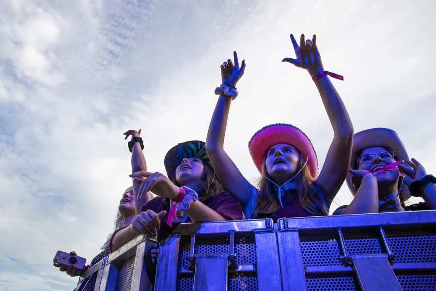 Fans at the Hinterland music festival cheer on Hippo Campus on August 2, 2019 in Saint Charles, Iowa.