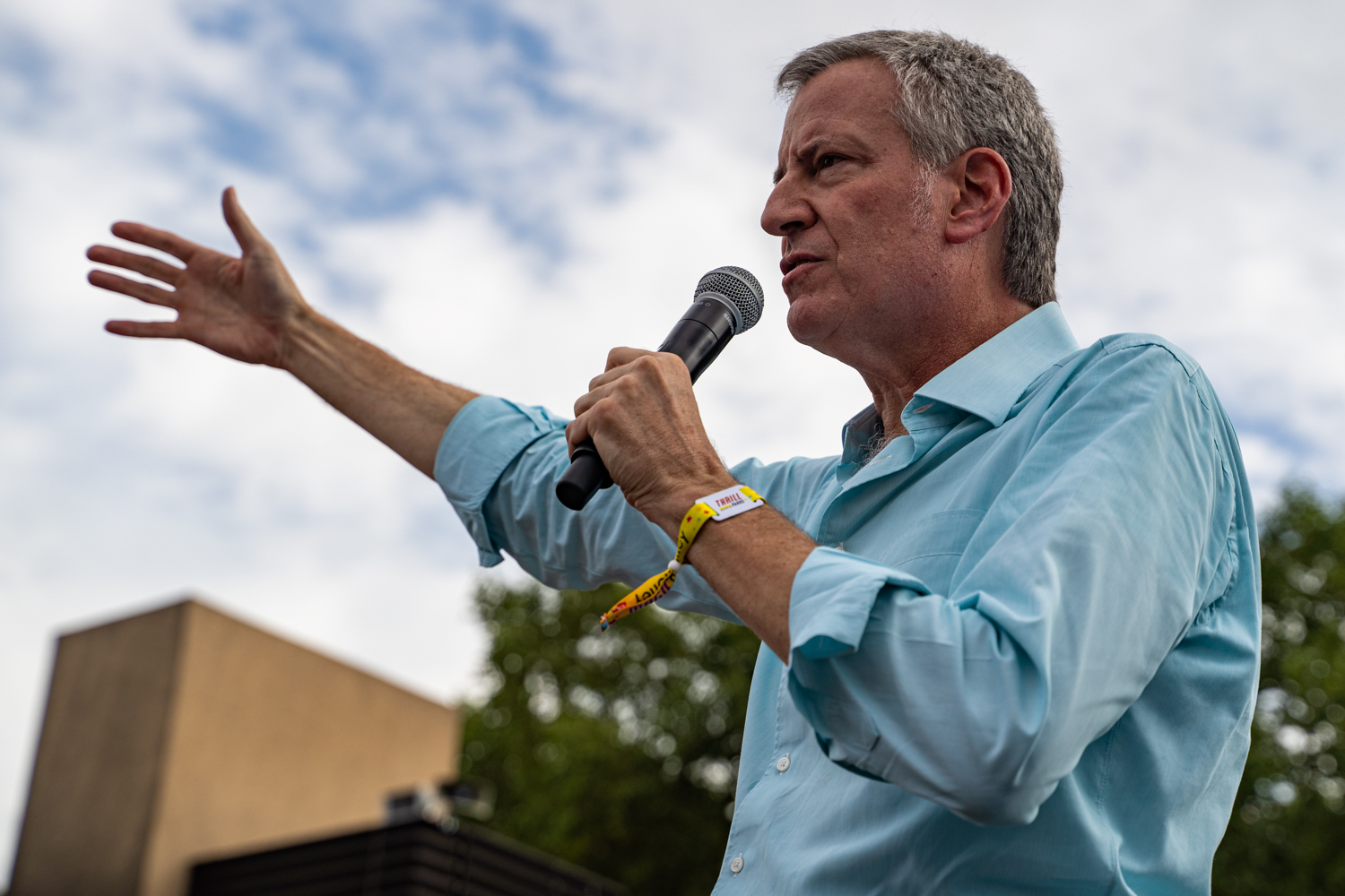 New York City Mayor Bill de Blasio speaks at the Des Moines Register Political Soapbox during the Iowa State Fair in Des Moines, IA on Sunday, August 11, 2019.