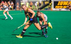 Iowa midfielder Katie Birch loses control of the ball during a field hockey match against Penn on Friday, Sep. 14, 2018. The Hawkeyes defeated the Quakers 3–0.