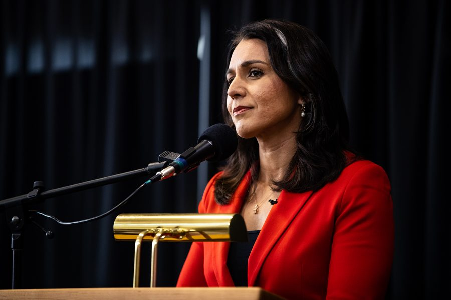 Hawiian+Representative+Tulsi+Gabbard+during+a+campaign+event+at+the+Fairfield+Arts+and+Convention+Center+on+Monday+Feb.+11%2C+2019.+Rep.+Gabbard+visited+Des+Moines%2C+Fairfield%2C+and+Iowa+City+on+a+tour+of+Iowa+cities+as+she+begins+her+2020+presidential+bid.