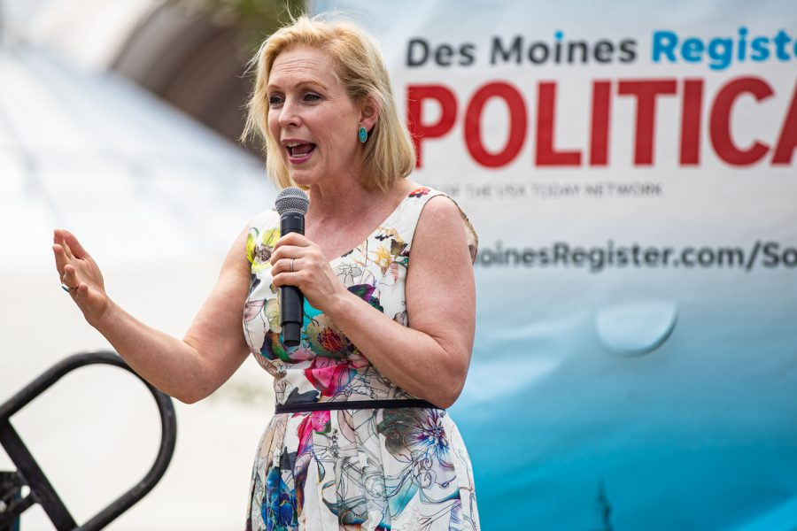 Sen.+Kirsten+Gillibrand%2C+D-NY.%2C+speaks+at+the+Des+Moines+Register+Political+Soapbox+during+the+Iowa+State+Fair+in+Des+Moines%2C+IA+on+Saturday%2C+August+10%2C+2019.+