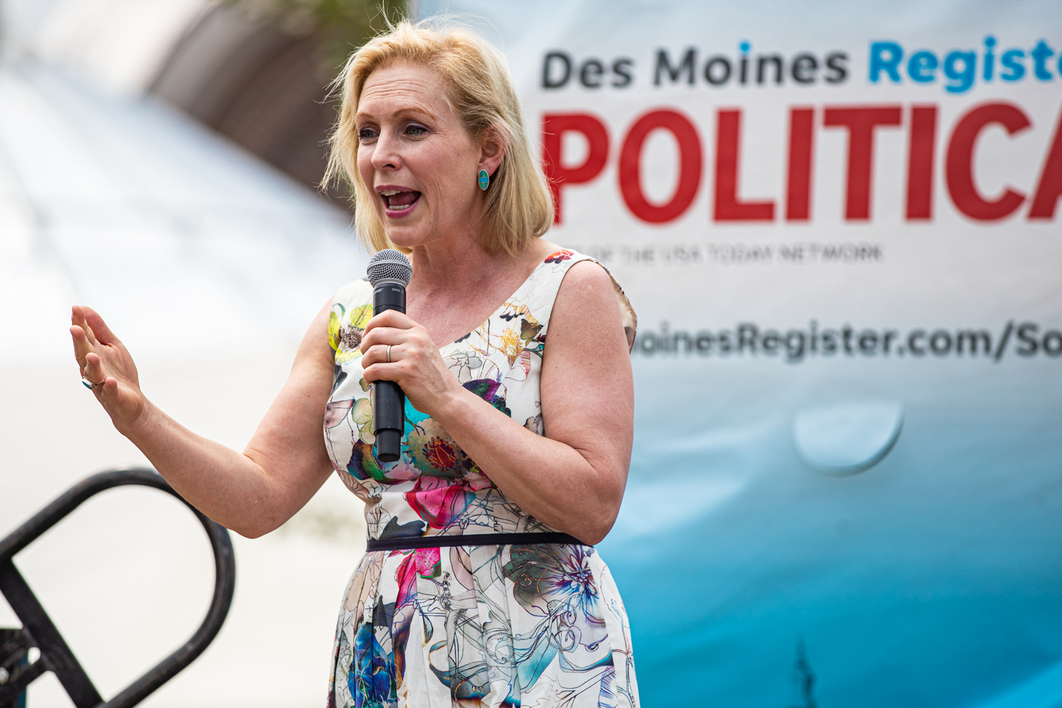 Sen. Kirsten Gillibrand, D-NY., speaks at the Des Moines Register Political Soapbox during the Iowa State Fair in Des Moines, IA on Saturday, August 10, 2019.