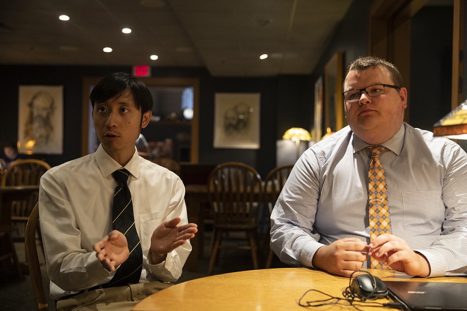 GPSG Vice President Thomas Pak and President Dexter Golinghorst sit for an interview at Java House on Monday, August 19, 2019.