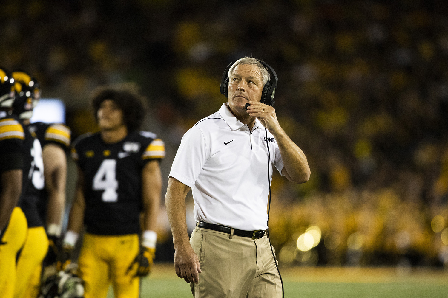 Iowa head coach Kirk Ferentz looks to the stands during the football game against Miami (Ohio) at Kinnick Stadium on Saturday, August 31, 2019.