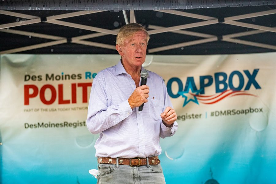 Former Massachusetts Gov. Bill Weld speaks at the Des Moines Register Political Soapbox during the Iowa State Fair in Des Moines, IA on Sunday, August 11, 2019.