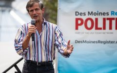 Former representative Joe Sestak speaks at the Des Moines Register Political Soapbox during the Iowa State Fair in Des Moines, IA on Saturday, August 10, 2019.
