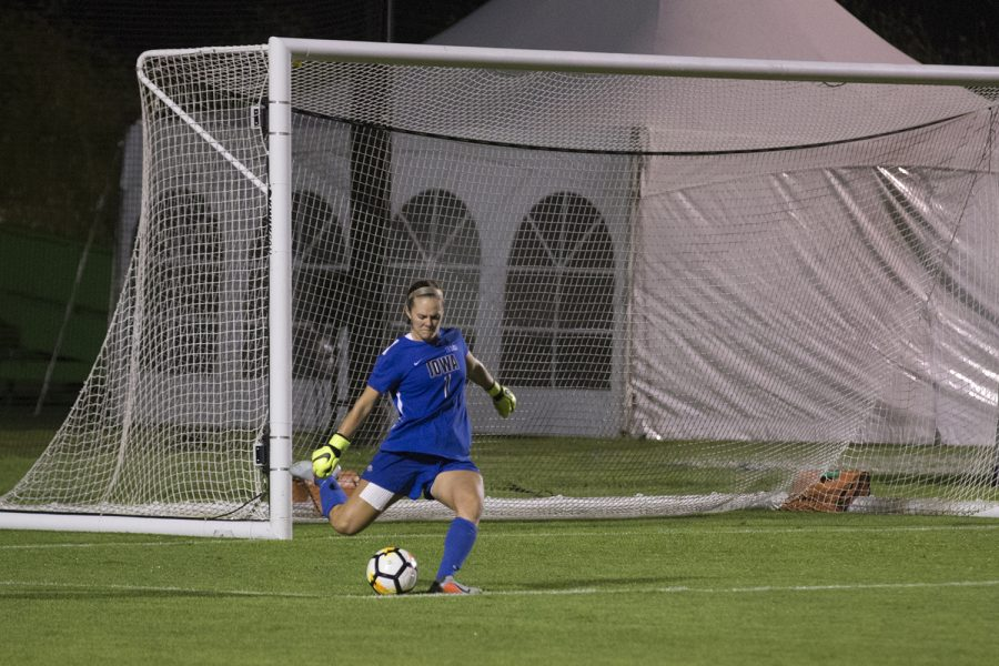 Iowa's Claire Graves performs a goal kick during a soccer match between Iowa and Missouri at the Iowa Soccer Complex on Friday, August 17, 2018. The Hawkeyes drew the Tigers, 0-0. (Shivansh Ahuja/The Daily Iowan)