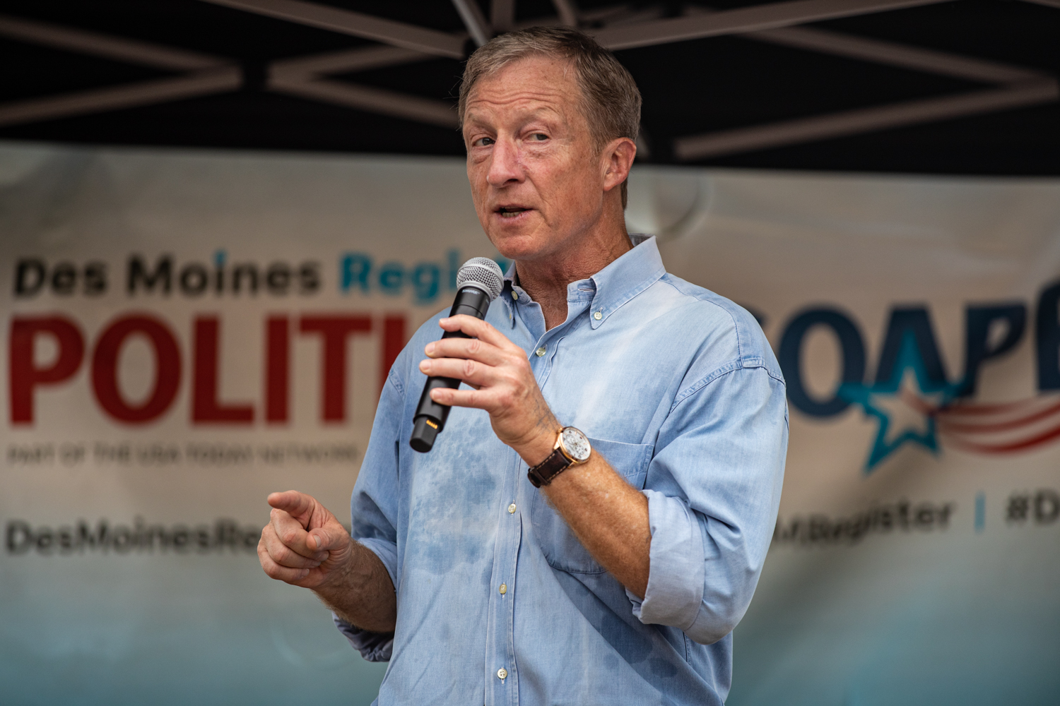 Tom Steyer speaks at the Des Moines Register Political Soapbox during the Iowa State Fair in Des Moines, IA on Sunday, August 11, 2019. (Shivansh Ahuja/The Daily Iowan)