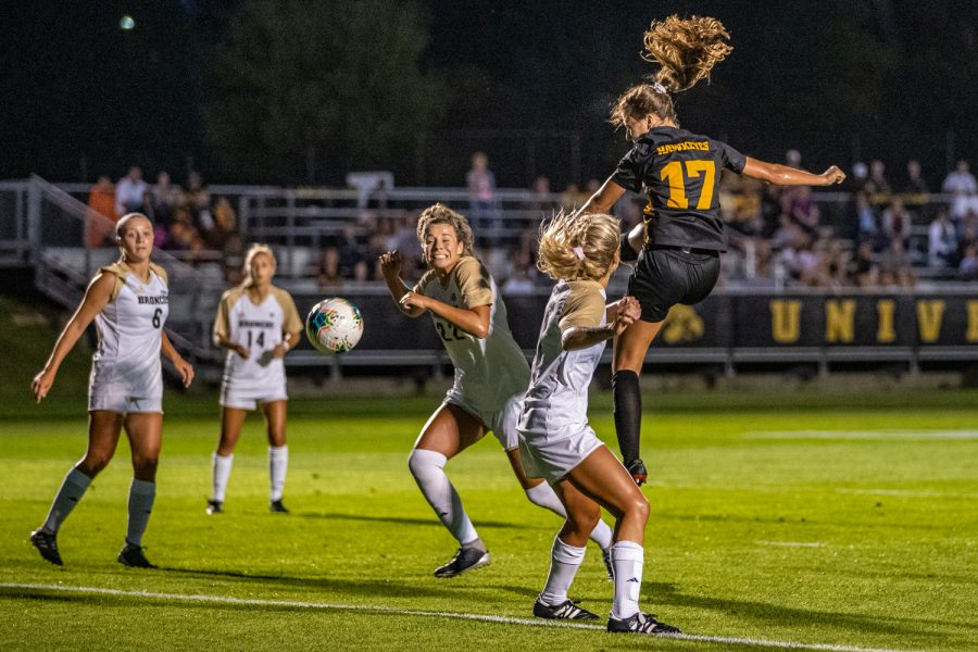 Iowa defender Hannah Drkulec (17) takes a shot during a women's soccer match between Iowa and Western Michigan on Thursday, August 22, 2019. The Hawkeyes defeated the Broncos, 2-0.