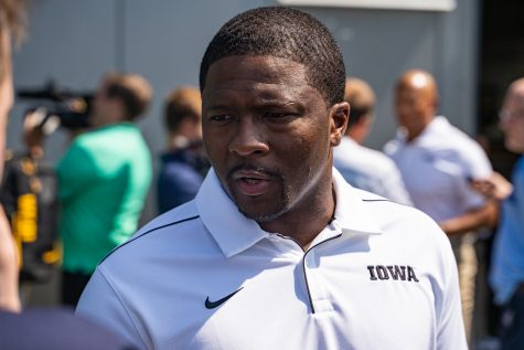 Iowa running backs coach Derrick Foster answers questions at Iowa Football Media Day on Friday, August 9, 2019.