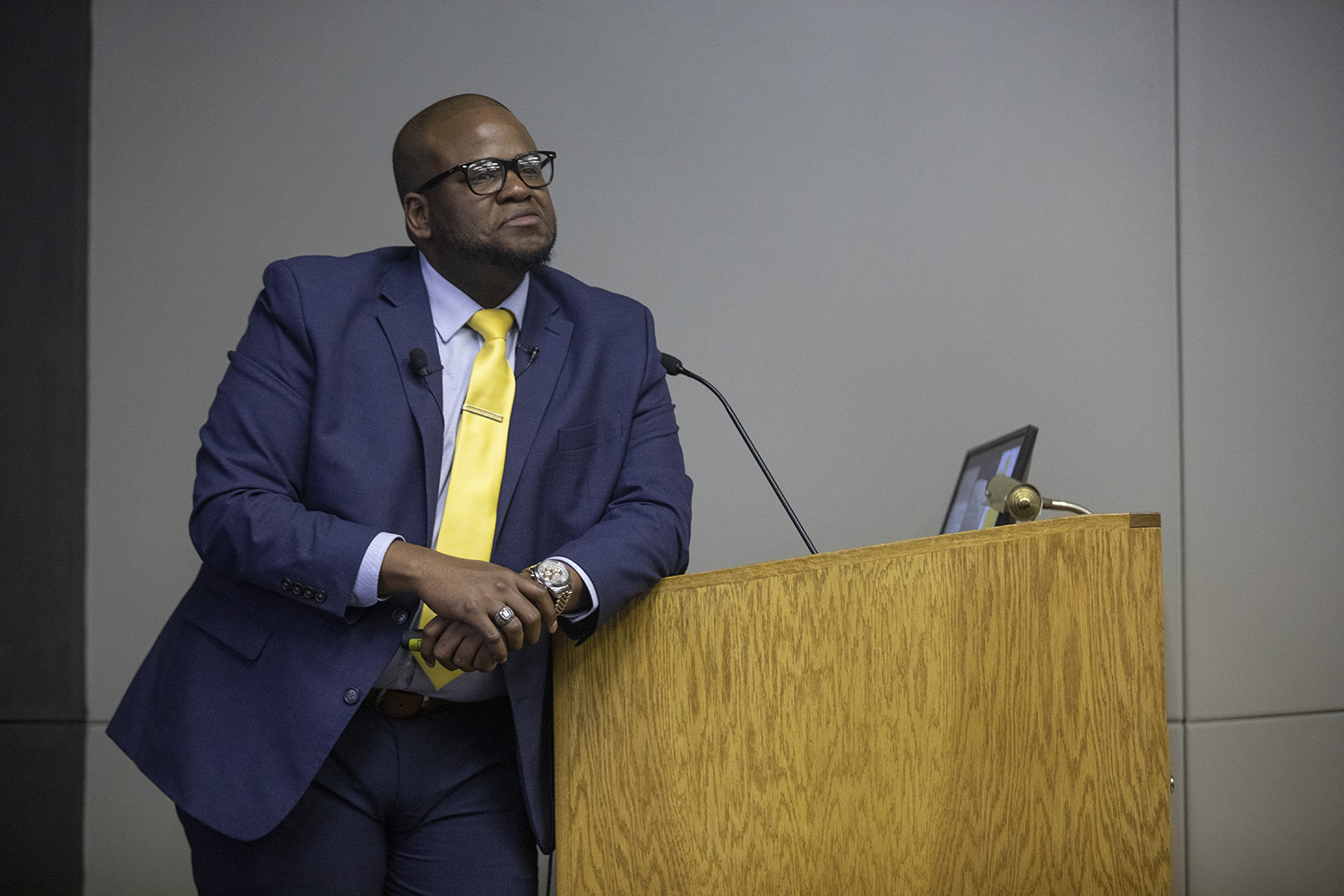 MUSC Executive Director of Student Programs and Student Diversity TaJuan Wilson speaks during the forum for the associate vice presidency of diversity, equity, and inclusion on March 25, 2019.