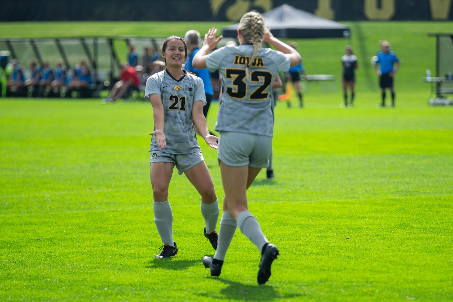 Iowa+forward+Emma+Tokuyama+%2821%29+celebrates+with+teammate+Gianna+Gourley+%2832%29+during+Iowa%27s+match+against+Illinois+State+on+Sunday%2C+September+1%2C+2019.+The+Hawkeyes+defeated+the+Red+Birds+4-3.
