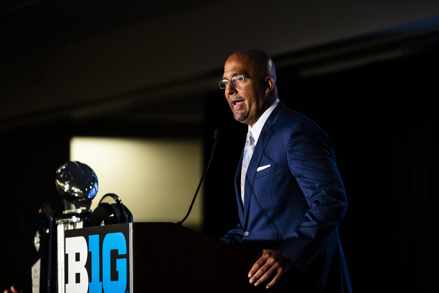 Penn State head coach James Franklin speaks during the second day of Big Ten Football Media Days in Chicago, Ill., on Friday, July 19, 2019.