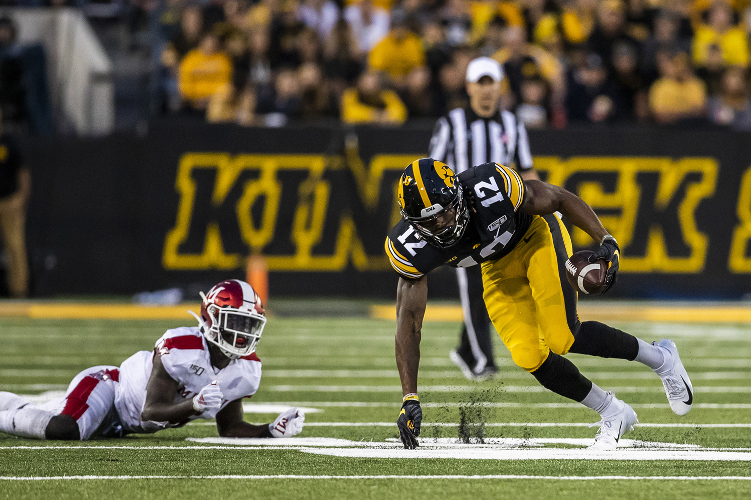 Iowa+wide+receiver+Brandon+Smith+runs+the+ball+during+the+Iowa+football+game+against+Miami+%28Ohio%29+at+Kinnick+Stadium+on+Saturday%2C+August+31%2C+2019.+The+Hawkeyes+defeated+the+Redhawks+38-14.