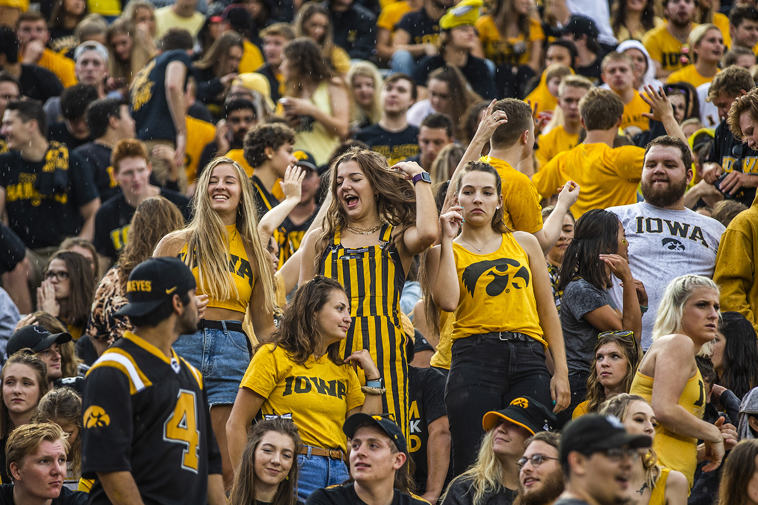 Fans+dance+during+the+Iowa+football+game+against+Miami+%28Ohio%29+at+Kinnick+Stadium+on+Saturday%2C+August+31%2C+2019.+The+Hawkeyes+defeated+the+Redhawks+38-14.