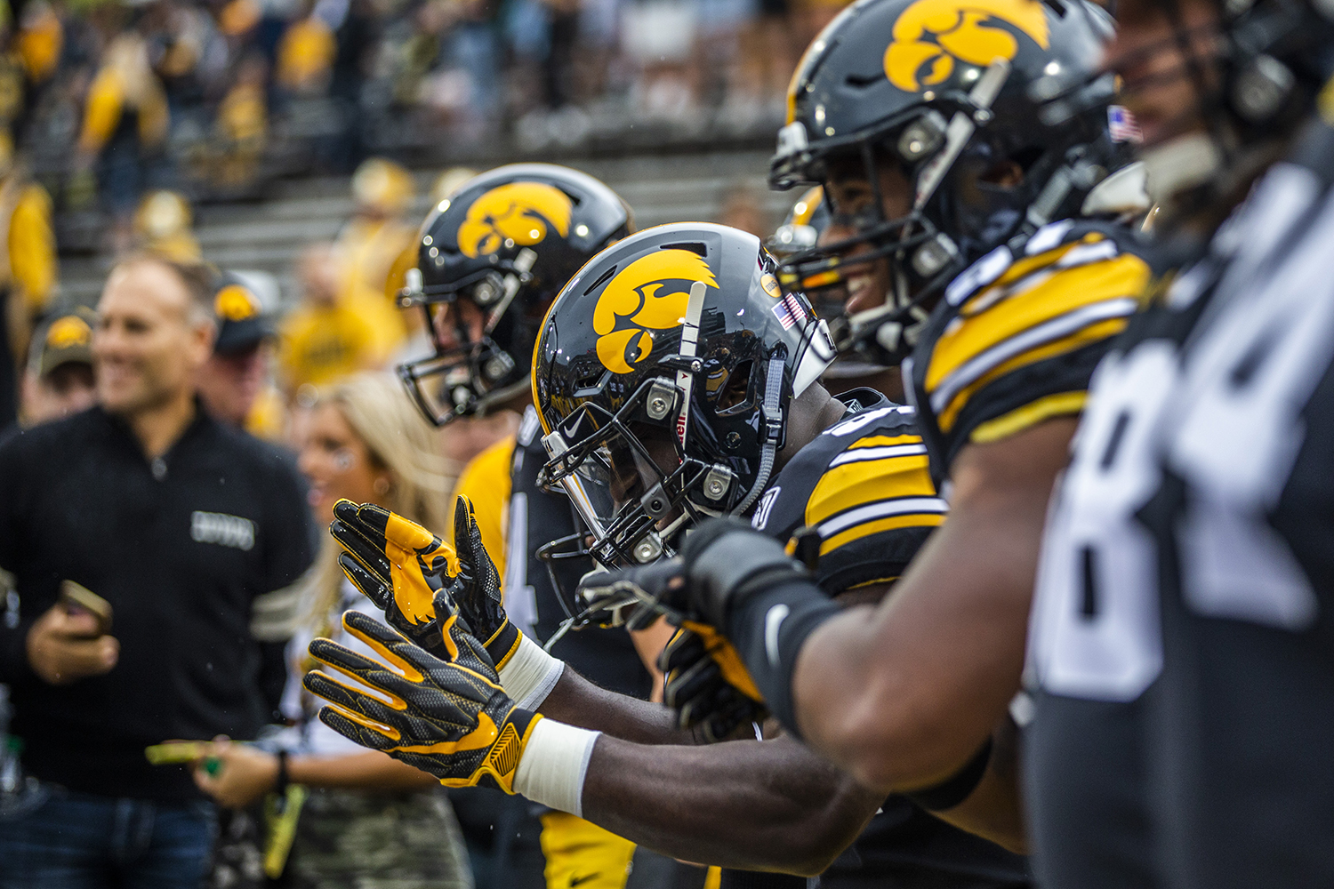 Iowa+players+cheer+during+the+football+game+against+Miami+%28Ohio%29+at+Kinnick+Stadium+on+Saturday%2C+August+31%2C+2019.+The+Hawkeyes+defeated+the+Redhawks+38-14.