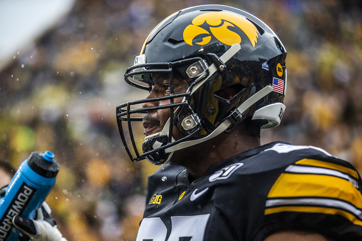 An+Iowa+player+takes+a+drink+of+water+during+the+football+game+against+Miami+%28Ohio%29+at+Kinnick+Stadium+on+Saturday%2C+August+31%2C+2019.