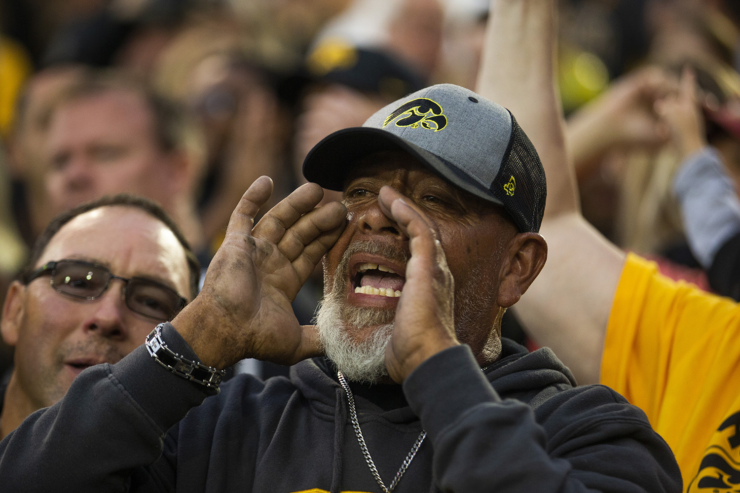 A+fan+reacts+during+the+football+game+against+Miami+%28Ohio%29+at+Kinnick+Stadium+on+Saturday%2C+August+31%2C+2019.+The+Hawkeyes+defeated+the+RedHawks+38-14.