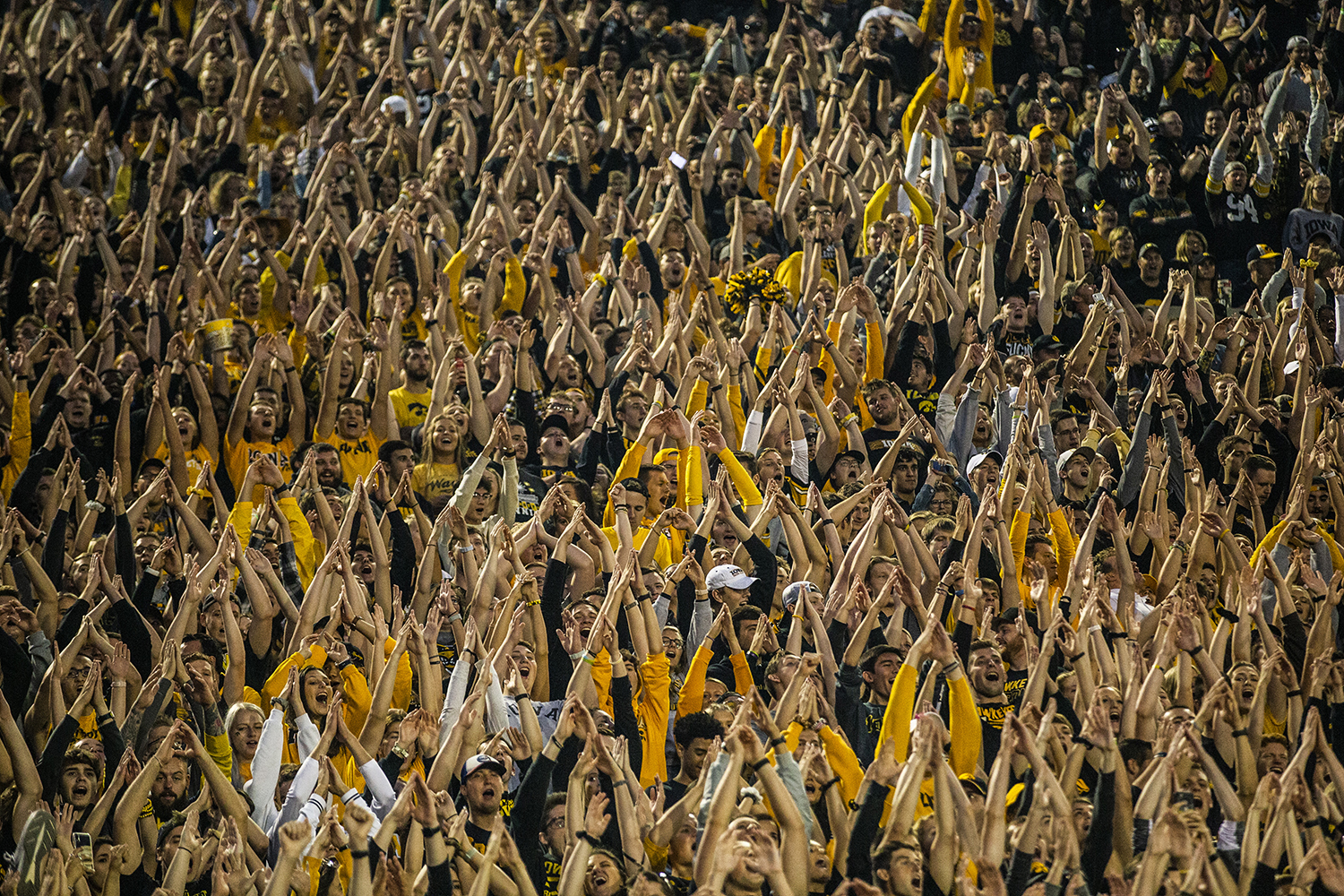 Fans+chant+the+%22I%22+after+an+Iowa+touchdown+during+the+Iowa+football+game+against+Miami+%28Ohio%29+at+Kinnick+Stadium+on+Saturday%2C+August+31%2C+2019.+The+Hawkeyes+defeated+the+Redhawks+38-14.
