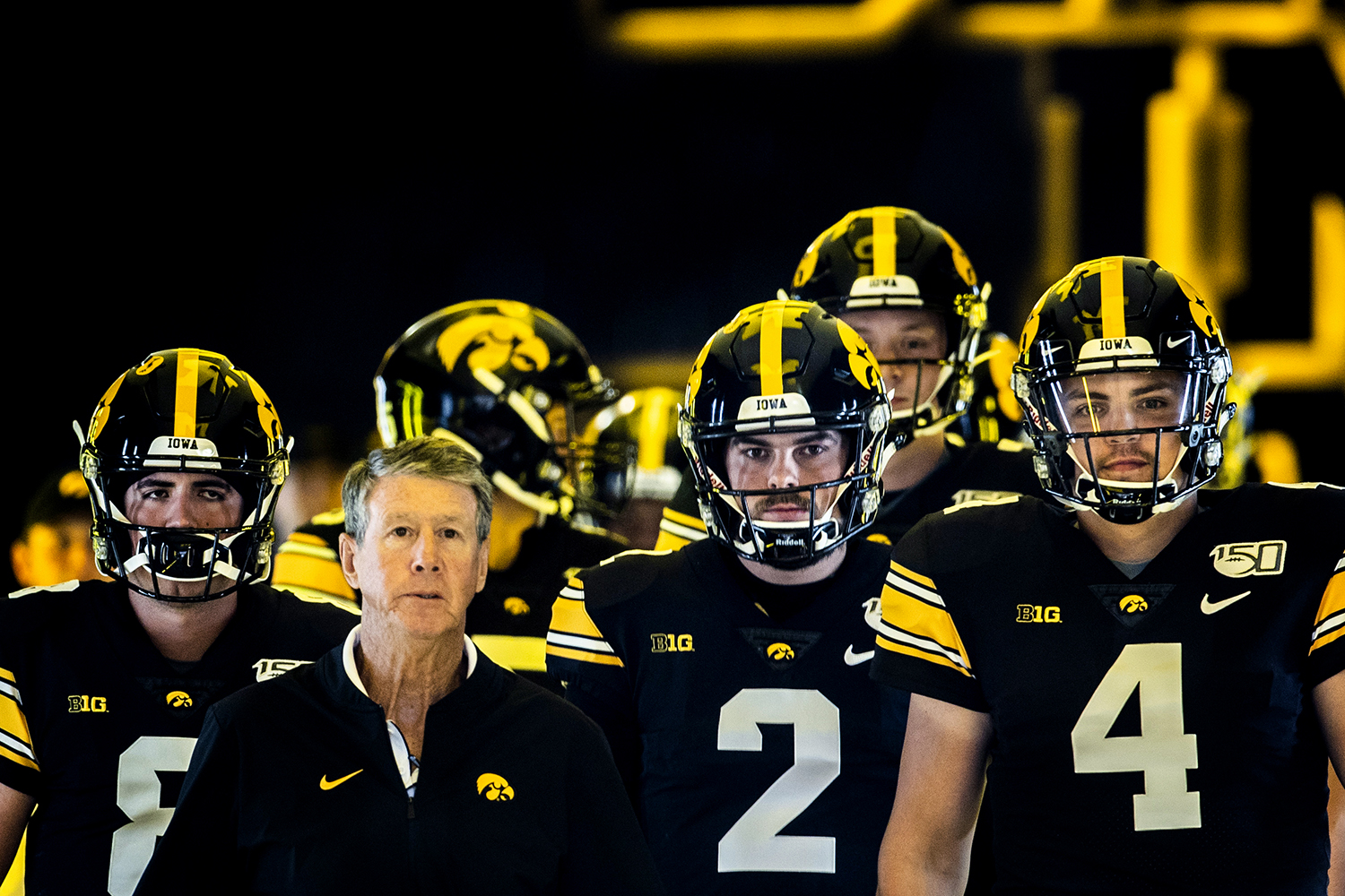Iowa+players+prepare+to+walk+into+the+stadium+before+the+football+game+against+Miami+%28Ohio%29+at+Kinnick+Stadium+on+Saturday%2C+August+31%2C+2019.+The+Hawkeyes+defeated+the+Redhawks+38-14.