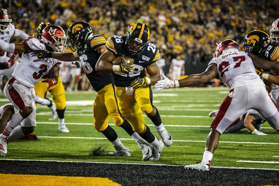 Iowa running back Toren Young scores a touchdown during the Iowa football game against Miami (Ohio) at Kinnick Stadium on Saturday, August 31, 2019. The Hawkeyes defeated the Redhawks 38-14.