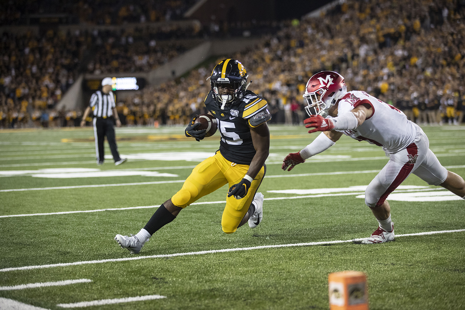 Iowa+running+back+Tyler+Goodson+is+tackled+by+the+end-zone+during+the+Iowa+football+vs.+Miami+%28Ohio%29+at+Kinnick+Stadium+on+Aug.+31%2C+2019.+Iowa+defeated+the+Miami+%28Ohio%29+38-14.