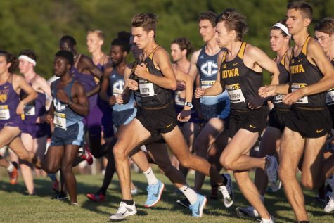 Runners begin the 6000 meter race during the Hawkeye Invitational on Friday, Sept. 6, 2019 at the Ashton Cross Country Course. The Hawkeyes prevailed over six other teams to win first place overall in the menÕs and womenÕs races. Drake UniversityÕs Adam Fogg finished in first place with a time of 18:06.8.