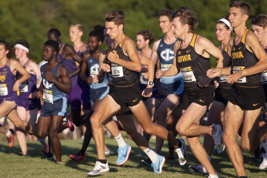 Runners+begin+the+6000+meter+race+during+the+Hawkeye+Invitational+on+Friday%2C+Sept.+6%2C+2019+at+the+Ashton+Cross+Country+Course.+The+Hawkeyes+prevailed+over+six+other+teams+to+win+first+place+overall+in+the+men%C3%95s+and+women%C3%95s+races.+Drake+University%C3%95s+Adam+Fogg+finished+in+first+place+with+a+time+of+18%3A06.8.