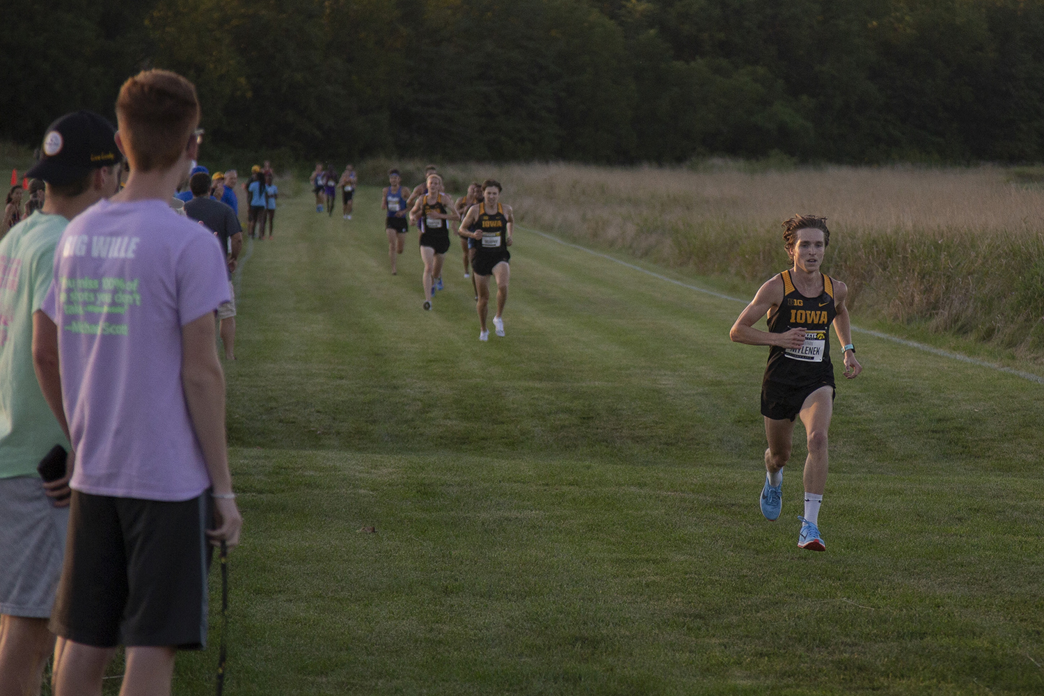 Iowa's Nathan Mylenek picks up speed as he approaches the finish line of the men's 6k during the Hawkeye Invitational at Ashton Cross Country Course on Friday, September 6, 2019. Mylenek finished second with a time of 18:16.0. The Hawkeyes defeated six other teams to finish first overall for both men's and women's races.