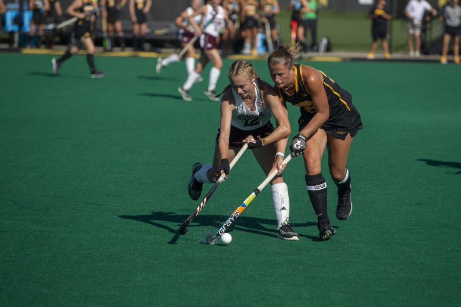 Iowa+midfielder+Sophie+Sunderland+steals+the+ball+during+a+field+hockey+game+between+Iowa+and+Central+Michigan+at+Grant+Field+on+Friday%2C+September+6%2C+2019.+The+Hawkeyes+defeated+the+Chippewas%2C+11-0.