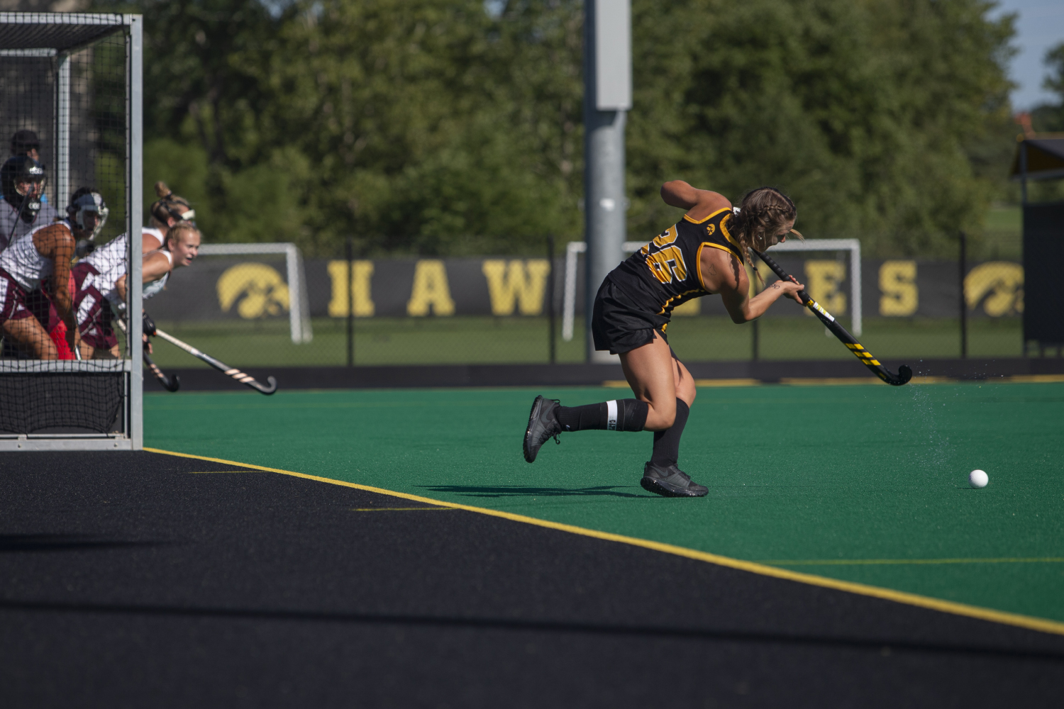 Iowa+forward+Maddy+Murphy+hits+a+corner+penalty+shot+during+a+field+hockey+game+between+Iowa+and+Central+Michigan+at+Grant+Field+on+Friday%2C+September+6%2C+2019.+The+Hawkeyes+defeated+the+Chippewas%2C+11-0.