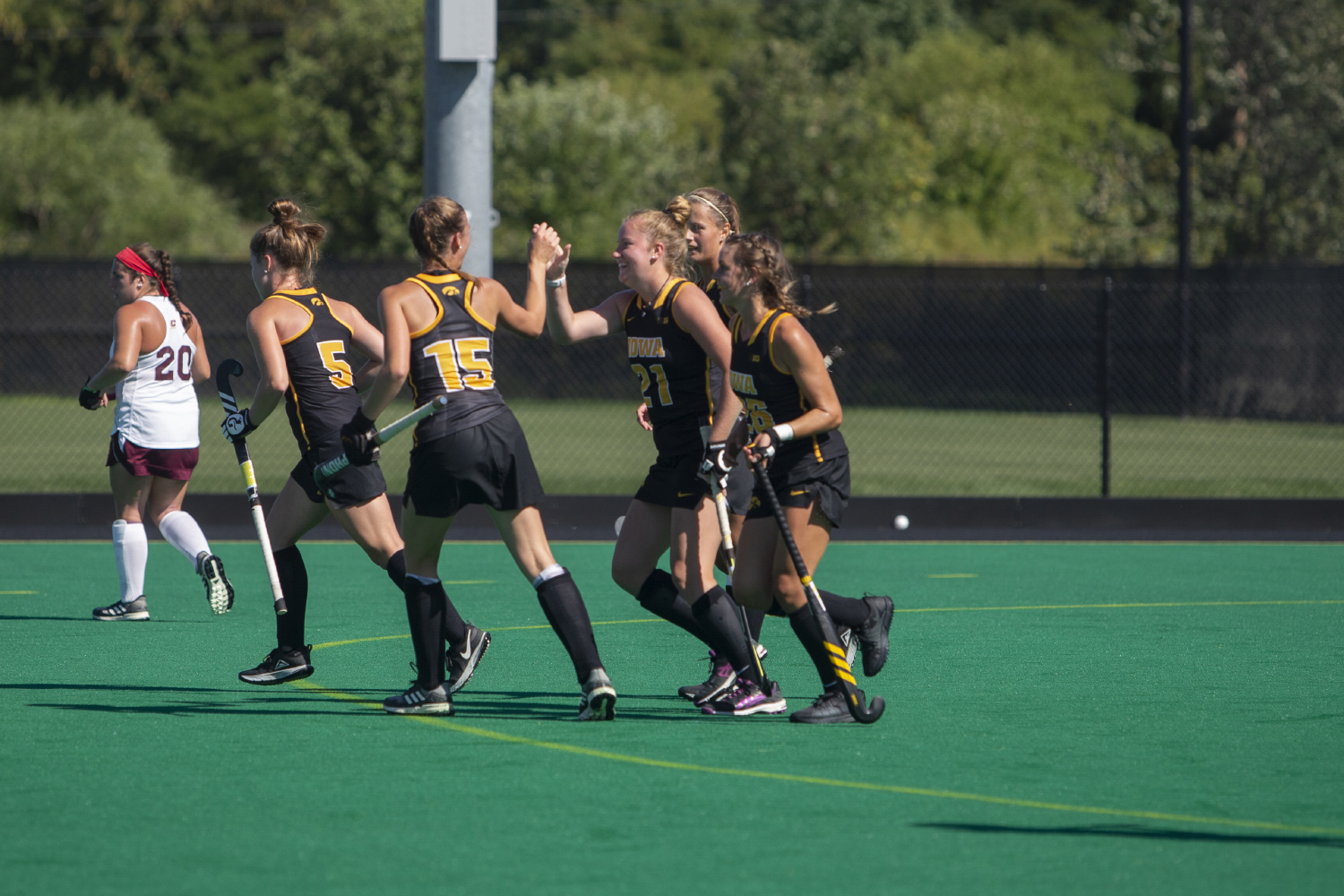 Iowa+midfielders+Esme+Gibson+and+Makenna+Maguire+celebrate+a+goal+during+a+field+hockey+game+between+Iowa+and+Central+Michigan+at+Grant+Field+on+Friday%2C+September+6%2C+2019.+The+Hawkeyes+defeated+the+Chippewas%2C+11-0.