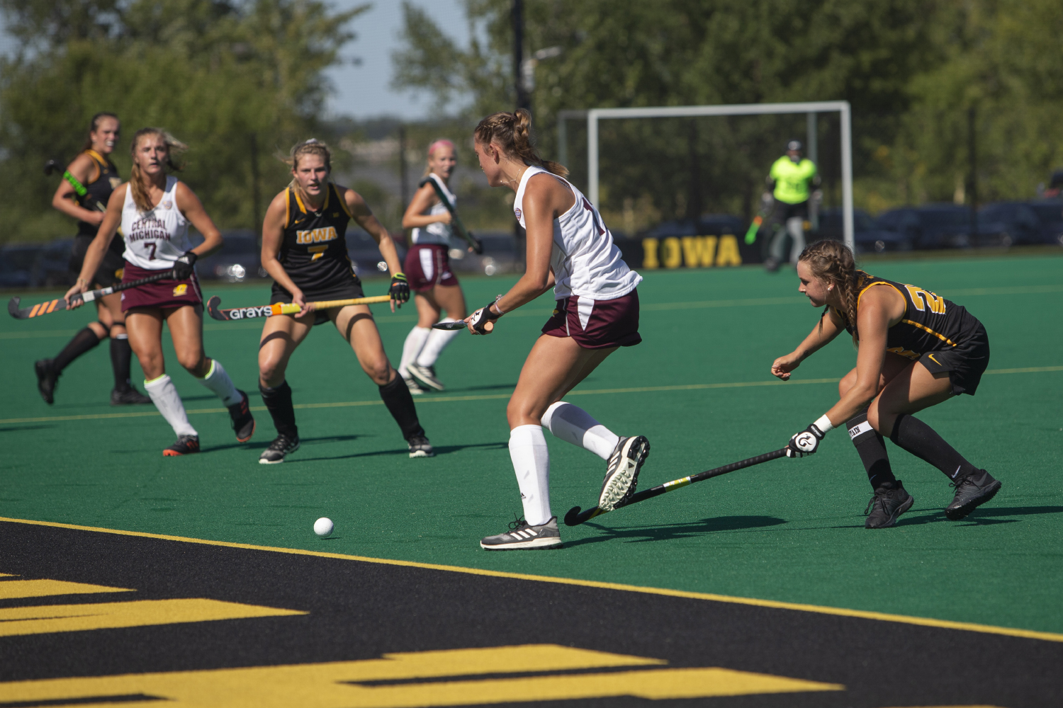 Iowa+forward+Maddy+Murphy+jabs+the+ball+out+of+bounds+during+a+field+hockey+game+between+Iowa+and+Central+Michigan+at+Grant+Field+on+Friday%2C+September+6%2C+2019.+The+Hawkeyes+defeated+the+Chippewas%2C+11-0.