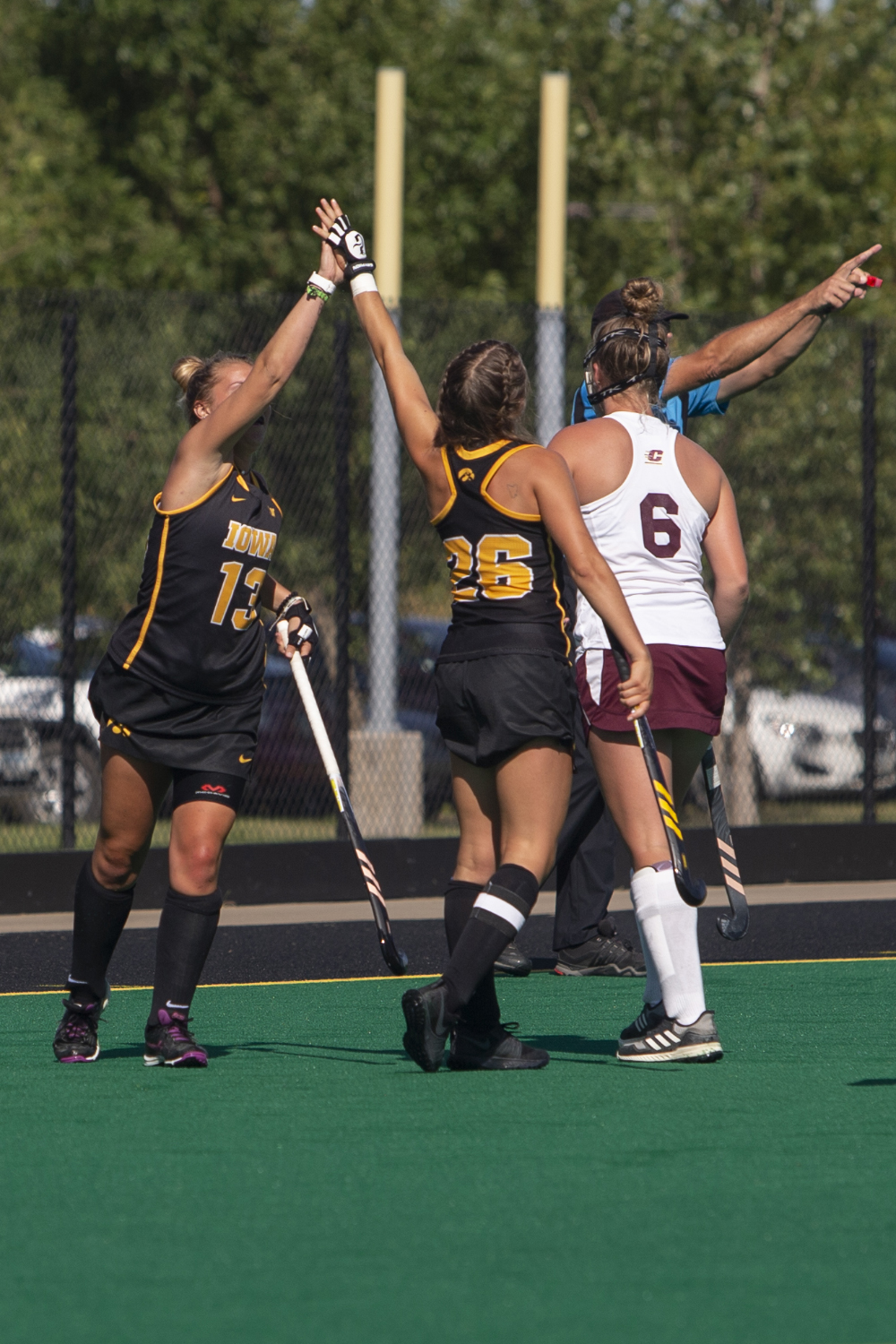 Iowa+forwards+Maddy+Murphy+and+Leah+Zellner+celebrate+a+goal+during+a+field+hockey+game+between+Iowa+and+Central+Michigan+at+Grant+Field+on+Friday%2C+September+6%2C+2019.+The+Hawkeyes+defeated+the+Chippewas%2C+11-0.