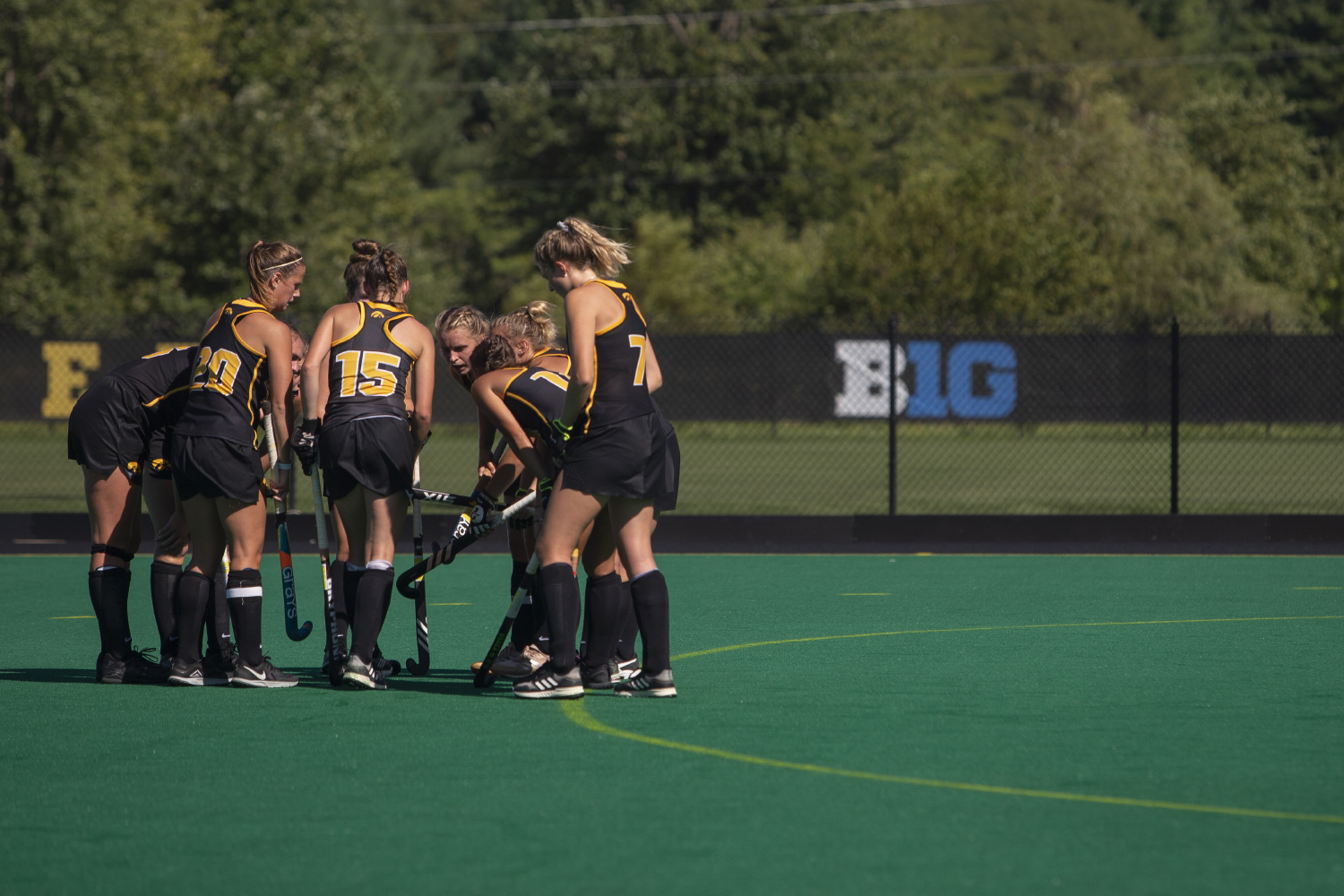 Iowa+players+meet+to+discuss+before+a+corner+shot+during+a+field+hockey+game+between+Iowa+and+Central+Michigan+at+Grant+Field+on+Friday%2C+September+6%2C+2019.+The+Hawkeyes+defeated+the+Chippewas%2C+11-0.