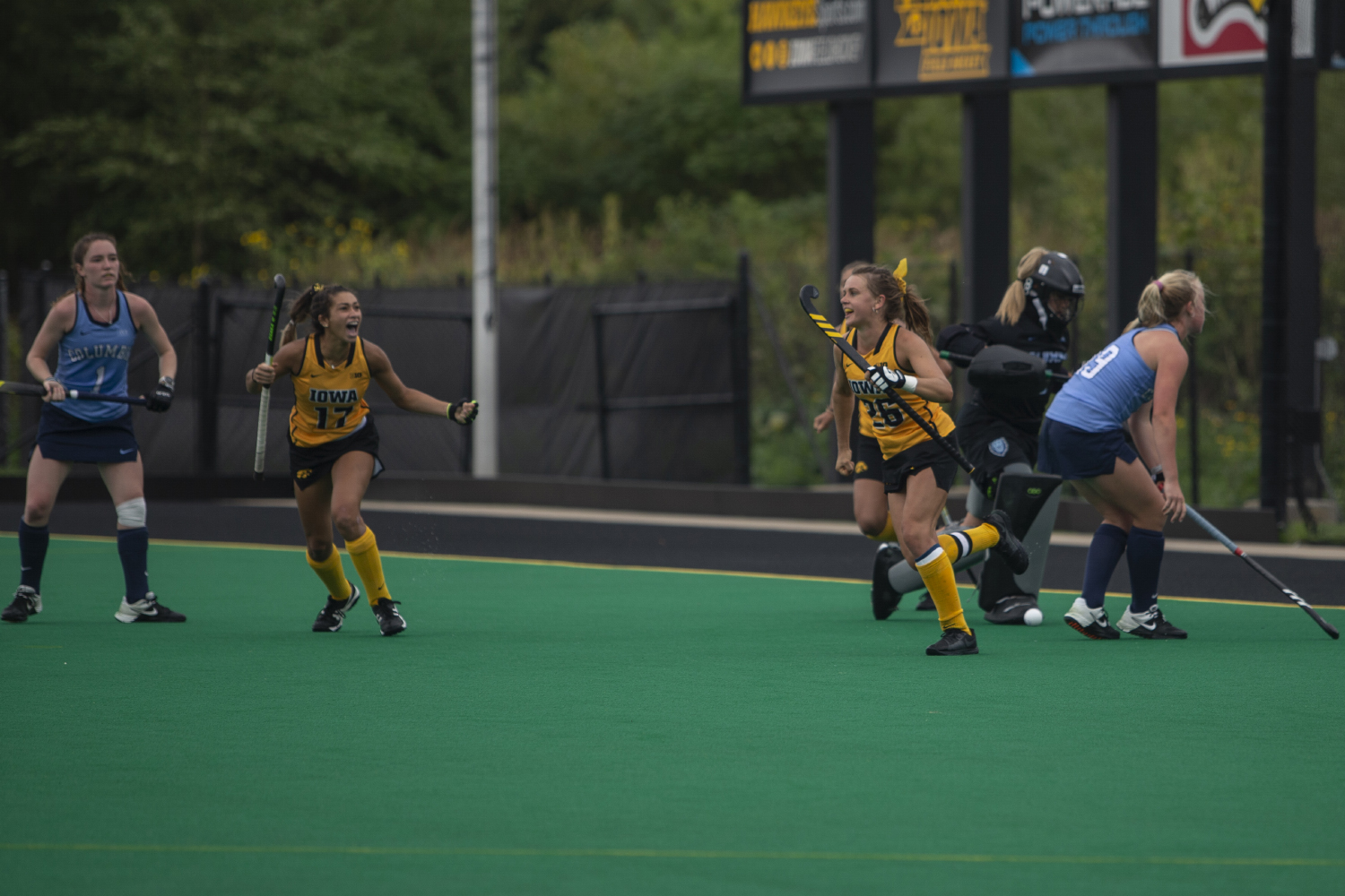 Iowa+forwards+Maddy+Murphy+and+Ciara+Smith+celebrate+a+goal+during+a+field+hockey+game+between+Iowa+and+Columbia+at+Grant+Field+on+Sunday%2C+September+8%2C+2019.+The+Hawkeyes+defeated+the+Lions%2C+3-1.