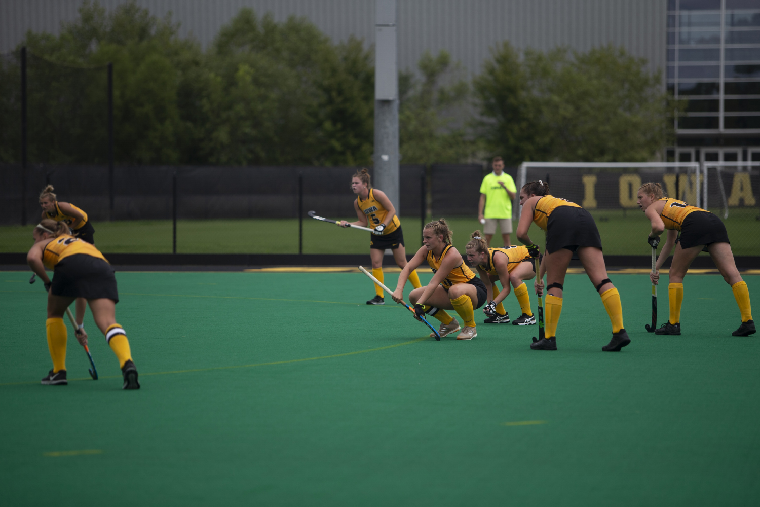 Iowa+players+prepare+for+a+corner+penalty+shot+during+a+field+hockey+game+between+Iowa+and+Columbia+at+Grant+Field+on+Sunday%2C+September+8%2C+2019.+The+Hawkeyes+defeated+the+Lions%2C+3-1.