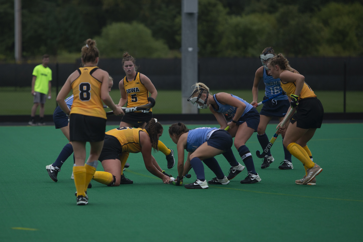 Iowa+defender+Anthe+Nijziel+gets+in+a+standoff+with+a+Columbia+player+during+a+field+hockey+game+between+Iowa+and+Columbia+at+Grant+Field+on+Sunday%2C+September+8%2C+2019.+The+Hawkeyes+defeated+the+Lions%2C+3-1.