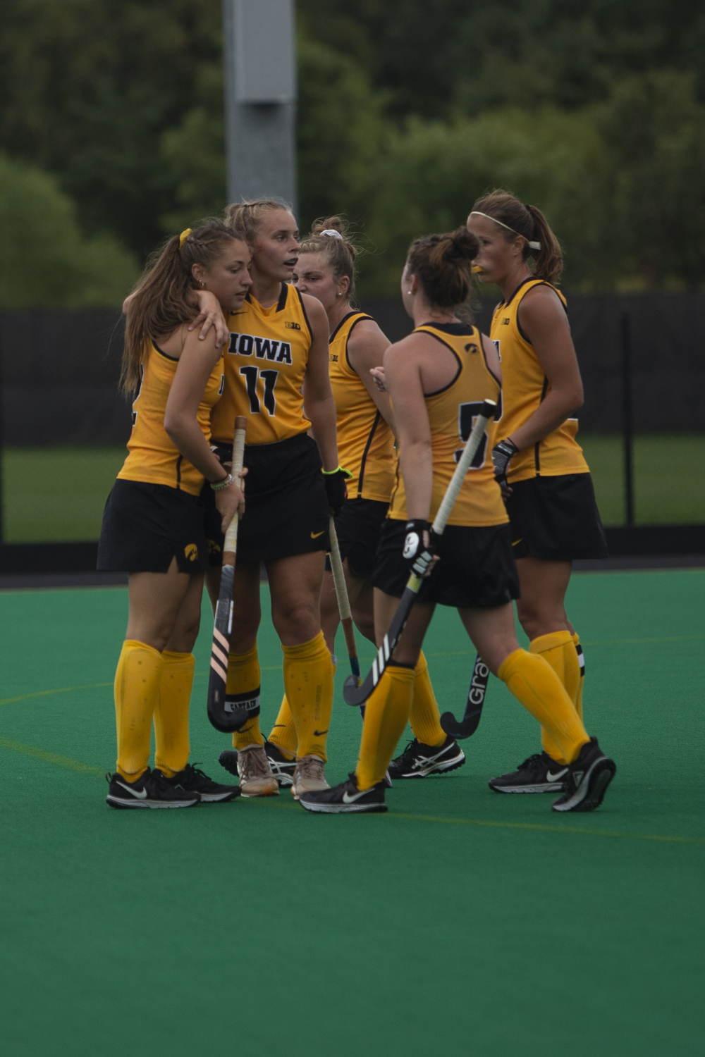 Iowa+defender+Emily+Duel+and+midfielder+Katie+Birch+hug+during+a+field+hockey+game+between+Iowa+and+Columbia+at+Grant+Field+on+Sunday%2C+September+8%2C+2019.+The+Hawkeyes+defeated+the+Lions%2C+3-1.
