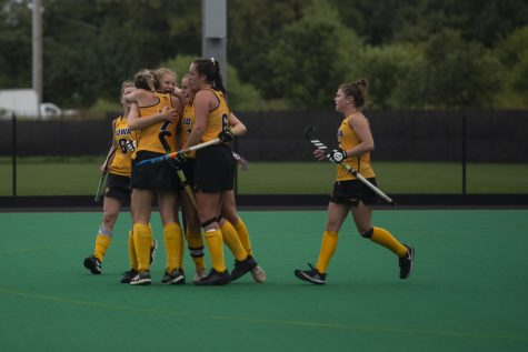 Iowa players celebrate a goal during a field hockey game between Iowa and Columbia at Grant Field on Sunday, September 8, 2019. The Hawkeyes defeated the Lions, 3-1.
