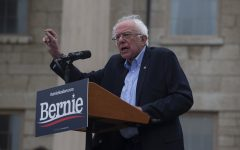 Bernie Sanders addresses the crowd during the Bernie 2020 College Campus Tailgate Tour on Sunday, September 8, 2019 at The Old Capitol Building.